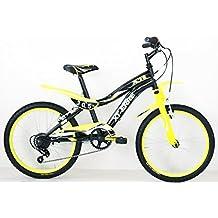 """Frejus CTB BAMBINO 20"""" - Bicicleta de montaña para niño, 6 velocidades, cuadro acero, Negro/Amarillo"""