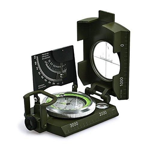 Militär Marschkompass Professioneller Taschenkompass Peilkompass Kompass Compass mit Klinometer Tragschlaufe Tasche für Jagd Wandern und Aktivitäten im Freien