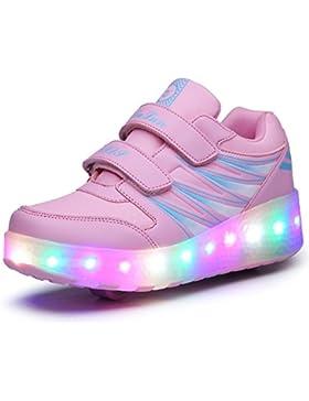 Bruce Lin Unisex Niños LED Luz Parpadea ruedas Dobles Roller Zapatos Skate Rueda Automática Aire Libre Patines...