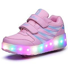 Idea Regalo - Unisex Bambini LED Skateboard Scarpe Singola Doppio Rotelle LED Luci Lampeggiante Sneaker All'aperto Sportive Pattino A Rotelle Scarpe con Regolabili Rotelle (32 EU, Rosa Doppia Ruota 02)