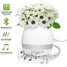 Maceta Musical Como Juga el Piano , Altavoz Bluetooth a 10M con Luz Noctura Colores Varios, Apriller