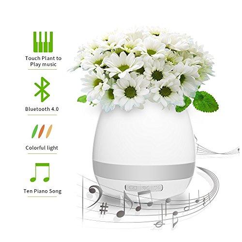 Musik Blumentopf,Apriller Kreative Bluethooth Lautsprecher Berühren Musikspieler Klavier Spielen Auf Pflanze Bunt LED Nachtlicht Für Dekor Haus Büro Weiß
