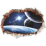 Aufkleber Outer Space Planet Wandaufkleber 3D Effekt durch Wand Home Decor Galaxy Mural Decals Wohnzimmer Schlafzimmer Dekoration