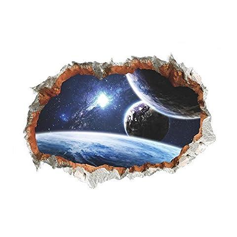 Space Space Planet Stickers muraux 3D Effect Through Wall Home Decor Décalques Galaxy Mural Salon Décoration de chambre à coucher