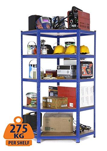 Racking Solutions - Sistema de almacenamiento en esquina de acero, cargas pesadas, estantería de esquina (5 niveles 1800mm Al x...