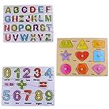 Di apprendimento prescolare precoce Formazione Develoment in legno Peg puzzle, giocattolo regalo di compleanno per bambini del bambino ragazze dei ragazzi (26 alfabeti + 10 Numero + Forme geometriche) immagine