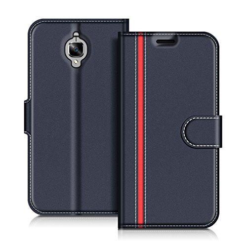 COODIO OnePlus 3T Hülle Leder Lederhülle Ledertasche Wallet Handyhülle Tasche Schutzhülle mit Magnetverschluss/Kartenfächer für OnePlus 3T & OnePlus 3, Dunkel Blau/Rot