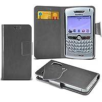 (Grey) Blackberry 8830 World Edition Mega sottile Protezione in ecopelle