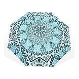 EZIOLY Regenschirm mit marokkanischem Mosaik-Motiv, leicht, UV-Schutz, Sonnenschirm, für Herren, Frauen und Kinder, Winddicht, faltbar, kompakt