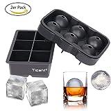 ICE CUBE Bandejas y moho Bola de Hielo (2unidades)–6Cavidad de silicona esfera grande y cuadrado Moldes Maker para Whisky cóctel (Negro)