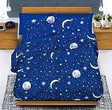 Completo Lenzuola Matrimoniale (due piazze) Luna & Stelle stellina steline Pianeti - in cotone Italiano - Made in Italy Prodotto di Qualità