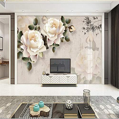Tapeten Wandbild Hintergrundbild Fototapetebenutzerdefinierte Wohnzimmer Nachttisch Hintergrund Klassische Elegante Weiße Rose Fototapete Für Wände 3 D Papel Pintado, 300 * 210Cm
