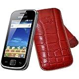 Original Suncase Echt Ledertasche (Lasche mit Rückzugfunktion) für Samsung Galaxy Gio GT-S5660 in croco-rot