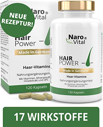 Haar-Vitamine - Für gesunde Haare, Haut und Nägel - 120 vegane Kapseln (2 Monate) - Mit 5 mg Biotin, Zink, Selen, Hirse-Extrakt, OPC & Mehr - gesunder Haarwuchs & Bartwuchs - Extrakt Pille