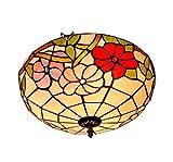 16-Zoll-Tiffany-Stil Deckenleuchte Europäische Retro Glasmalerei Deckenleuchten Wohnzimmer Schlafzimmer Korridor Balkon Dekoration Kronleuchter Leuchte E27,110-240V