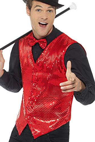Weste Rote Kostüm - Smiffys Herren Pailletten Weste, Größe: XL, Rot, 46960