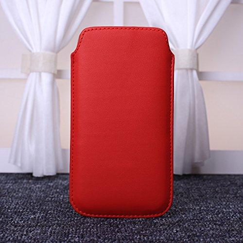 ekinhui Fall Cover NEU Farbe Premium Stylish Kunstleder Pull Tab Pouch Skin Schutzhülle für iPhone SE 5S 66S rot