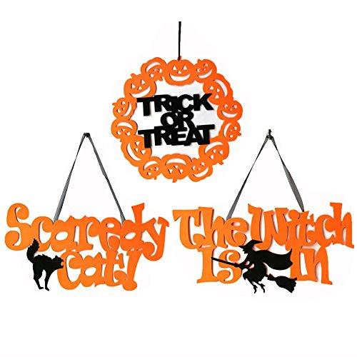 Messar Halloween Spuk-Hanging Prop, Hexe Katze Fledermaus Kürbisse Design Vlies Wand Tür Kleiderbügel Schild Dekoration Crafts für Halloween Party Supplies Home Decor Style B - 3 Pack