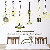 Adesivo da parete decorativo lampadario classico salotto giallo sfondo nero 93 * 118cm