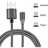 SEC 3-in-1 Magnetic Lighting USB Charging Cable Type C, Micro USB, 8 Pin Lightning Nylon Braided Sync Cord for iOS Android Systems (Black)