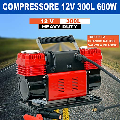 Compressore Aria Portatile 12V 300L/Min 600W 4x4 manometro valvola sgonfiaggio