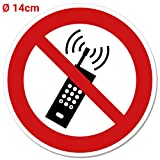 Pegatinas Prohibido Funk/teléfono móvil, diámetro 14cm Cartel, llamadas Prohibido prohibición, Teléfono móvil, móvil telfone prohibición decorativo,