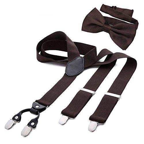 DonDon Herren 3,5 cm breiter Hosenträger in Y-Form elastisch und verstellbar im 2er Set mit farblich passender Fliege 12 x 6 cm Braun
