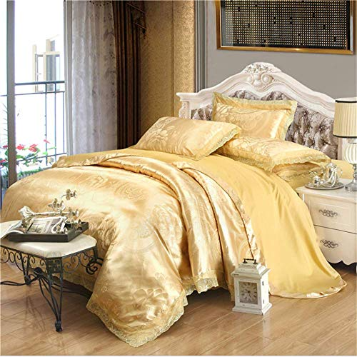 SHJIA Bettwäsche-Sets Jacquard Königin King Size Bettbezug Set Hochzeitsbettwäsche Bettwäsche Bettbezug Hellgelb 150x200cm Versace Jacquard