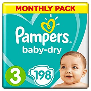 Pampers Baby-Dry Size 3, 198 Nappies, (6-10 kg), Air Channels for Breathable Dryness Overnight, Monthly Pack (B00AR9HX4U) | Amazon price tracker / tracking, Amazon price history charts, Amazon price watches, Amazon price drop alerts