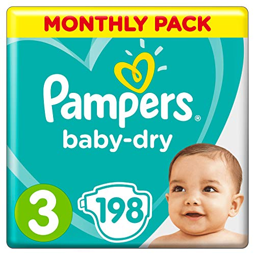 Pampers Baby-Dry Size 3, 198 Nappies, (6-10 kg), Air Channels for Breathable Dryness Overnight, Monthly Pack