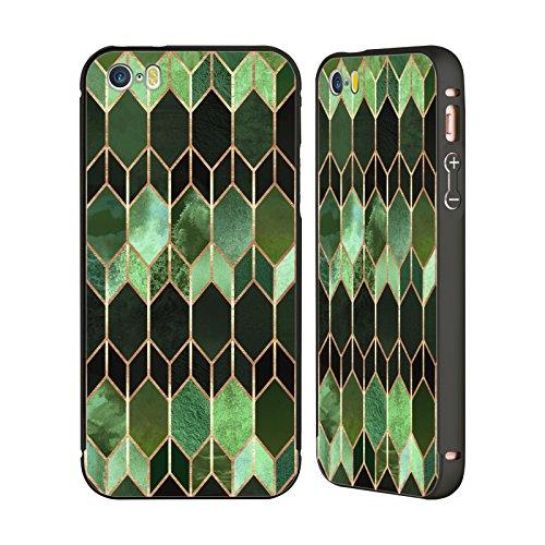 Offizielle Elisabeth Fredriksson Goldene Stadt Geometrisches Designs Und Muster Schwarz Rahmen Hülle mit Bumper aus Aluminium für Apple iPhone 5 / 5s / SE Grünes Glas