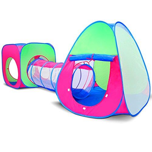 Kinder-Pop-Up-Play-Haus-Zelt-und-Tunnel-Tube-3-Stck-in-1-Kleinkind-Spielzeug-fr-Haus-Indoor-Outdoor-Garten-und-im-Schnee