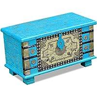 Preisvergleich für SENLUOWX Aufbewahrungstruhe blau Mango Holz 80x 40x 45cm