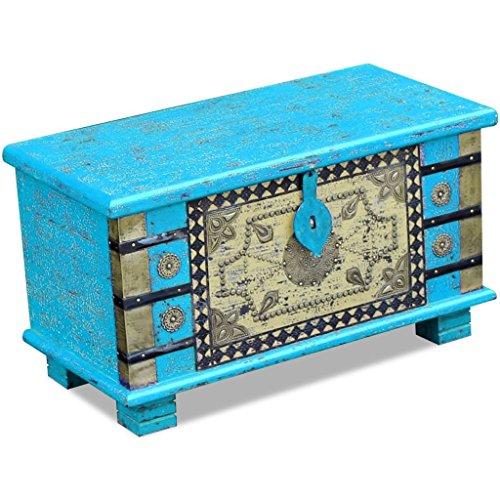 vidaXL Coffre de rangement table basse Bois de manguier bleu 80 x 40 x 45 cm
