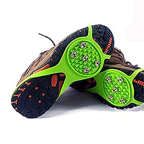 Swamp Paese 5denti neve scarpe con in gomma, Ramponi antiscivolo scarpa spikes per scarpe scalatore, verde