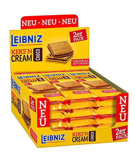 Leibniz Keks'n Cream im 2er Pack — Thekenaufsteller Kekse — Butterkekse mit Schoko-Creme Füllung — Schoko-Kekse einzeln verpackt — Doppel-Schokoladenkekse Box (1 x 684 g)