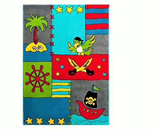 Hochwertiger Kinderteppich / Kinder Teppich / Teppich / hochwertiger Kinderspielteppich / Kinderteppich mit Piraten / weicher Kinderteppich Schatzinsel Räuber und Pirat / strapazierfähiger schöner Kinderteppich für das Kinderzimmer Modell Kinderwebteppich Pino und die Schatzinsel / Dieser wunderschöne und weiche Kinderteppich ist in den Größen : 80x150 cm oder in der Größe 120 x 170 cm erhältlich (120_x_170_cm)