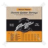 Johnny Brook - Lot de 6 Cordes de Guitare Electrique Haute Qualité en Acier Plaqué Nickel, Calibre Normal