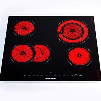 Arebos® Plaque de Cuisson Vitrocéramique Table de Cuisson 4 Foyer Autonome