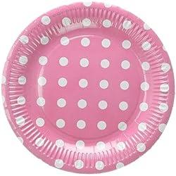 Takestop® Juego 24piezas Platos Plato de papel 18cm rosa lunares USA y desechables Cumpleaños Boda nacimiento bautizo Fiesta Party