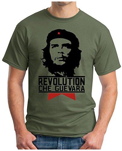 OM3 - Che Guevara - T-Shirt Cuba Viva la Revolution Castro Havana Rum Paix PACE, XL, Oliv -