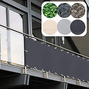 Balkon Sichtschutz PVC | 90×600 cm | Extra Blickdicht | Balkonverkleidung aus wetterfestem Kunststoff mit UV-Schutz…