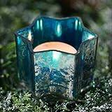 in due Adventsstecker/Adventsstern aus Glas zum Stecken türkis (4er Set)