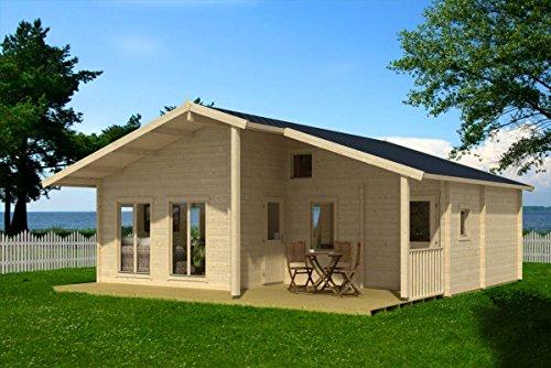 Preisvergleich Produktbild Ferienhaus F5 inkl. Fußboden - 70 mm Blockbohlenhaus,  Grundfläche: 49, 00 m²,  Satteldach