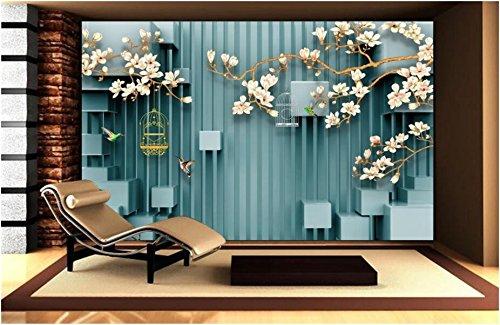 Wh-Porp 3D Handbemalte Magnolien Vogel Vogelkäfig Fototapete 3D Stereoskopischen Raum Tv Hintergrundbild Für Die Wände 3D-450Cmx300Cm