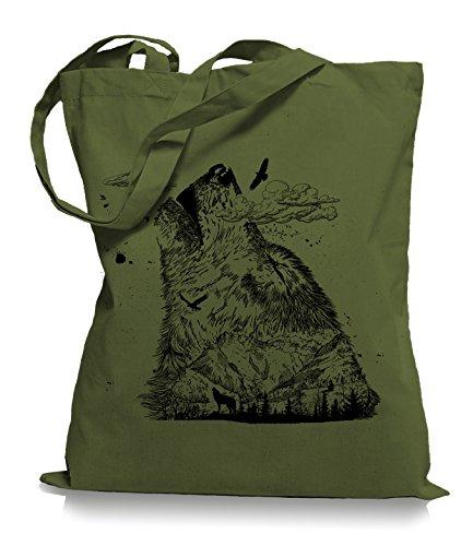 Wolf Mountain Stoffbeutel |Rettet die Wölfe Tragetasche Olive Green