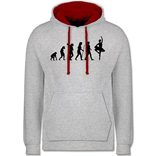 Evolution - Ballett Evolution - Kontrast Hoodie Grau Meliert/Rot