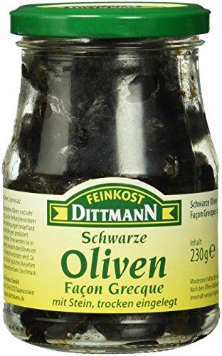 Feinkost Dittmann Schwarze Oliven, Façon Grecque, trocken eingelegt, mit Stein, 6er Pack (6 x 230 g)