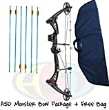 "Best Compound Hunting Bow Packages - ASD Black Monster Compound Archery Bow 30-55Lbs 19-29"" Review"