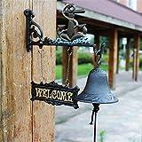 Campana de puerta delantera montada en la pared Hierro fundido Colgante Timbre Decoración y soporte de pared Estilo tradicional Rústico Puerta Timbre de la campana Campana Campana de viento Colgante f